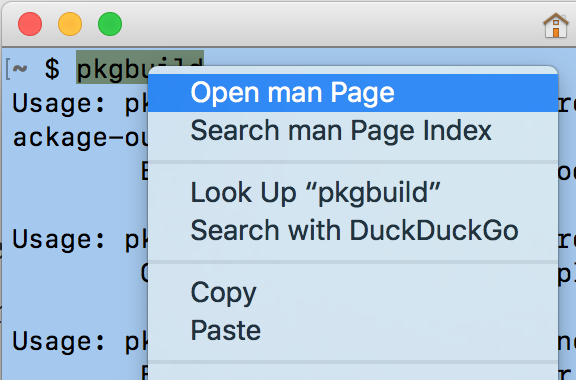 Open man Page in the Terminal context menu