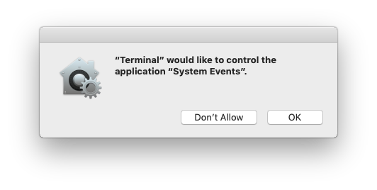 Apple Event permission dialog